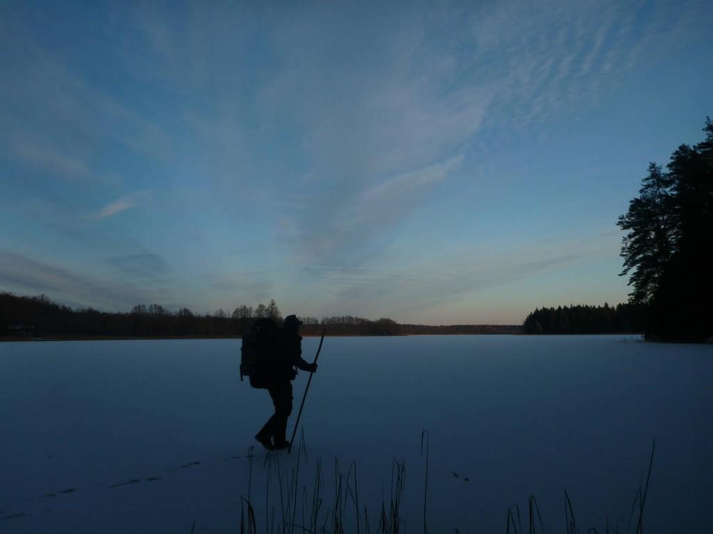 Quelques traversées sur de petits lacs gelés