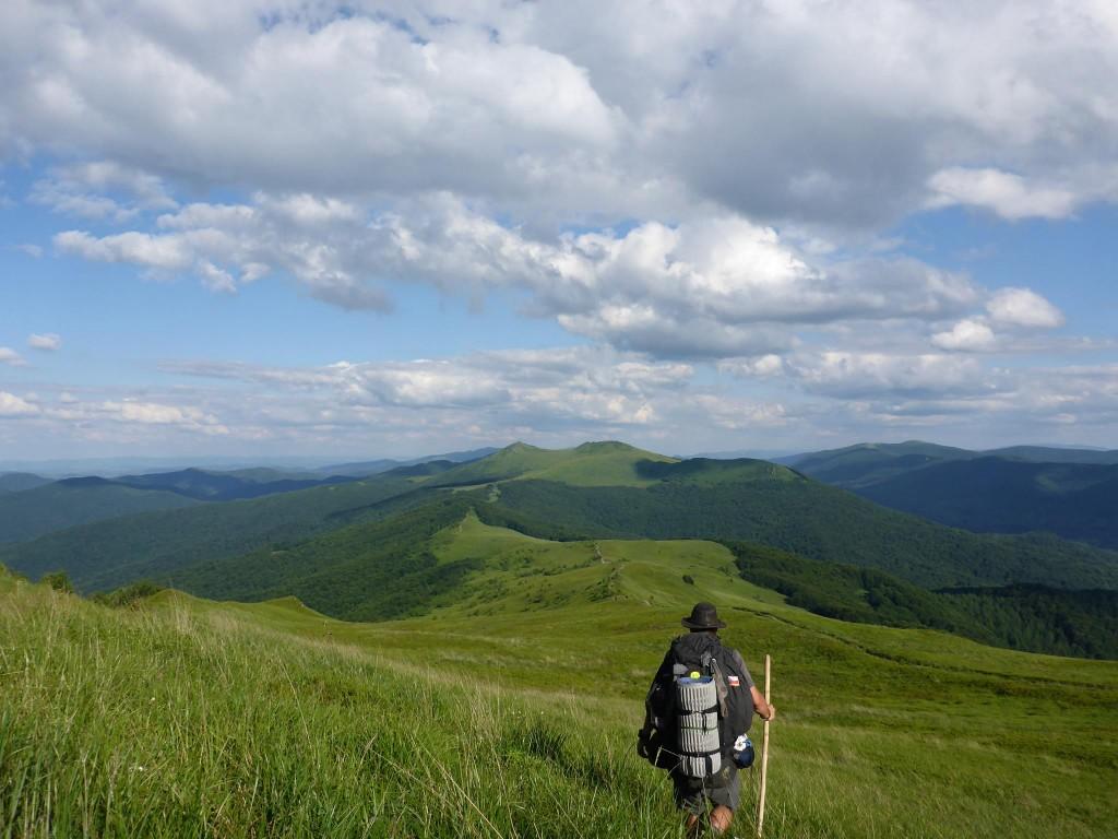 J'arrive dans les montagnes des Bieszczadzki, une sucession de plusieurs crêtes longues chacune d'une dizaine de kilomètres.