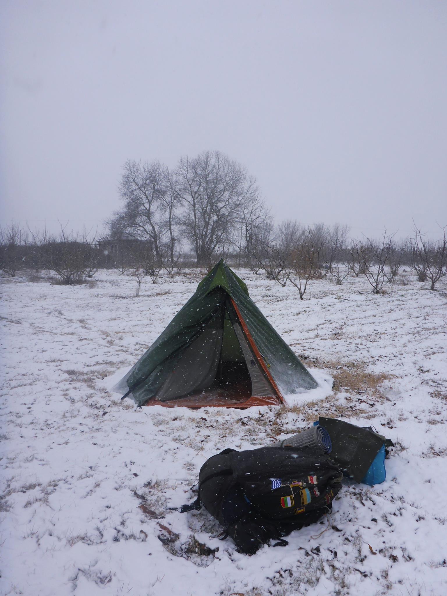 Mon troisième hiver sous la tente... Heureusement que c'est le dernier hahaha !