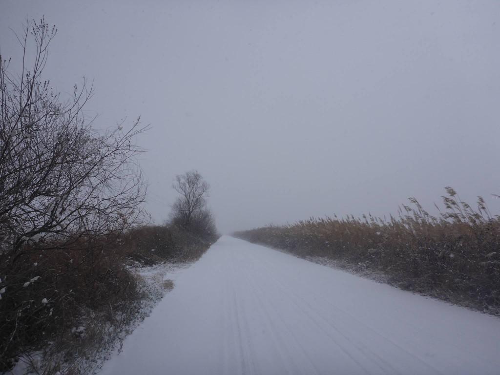 Je passe par des pistes et petites routes toutes enneigées