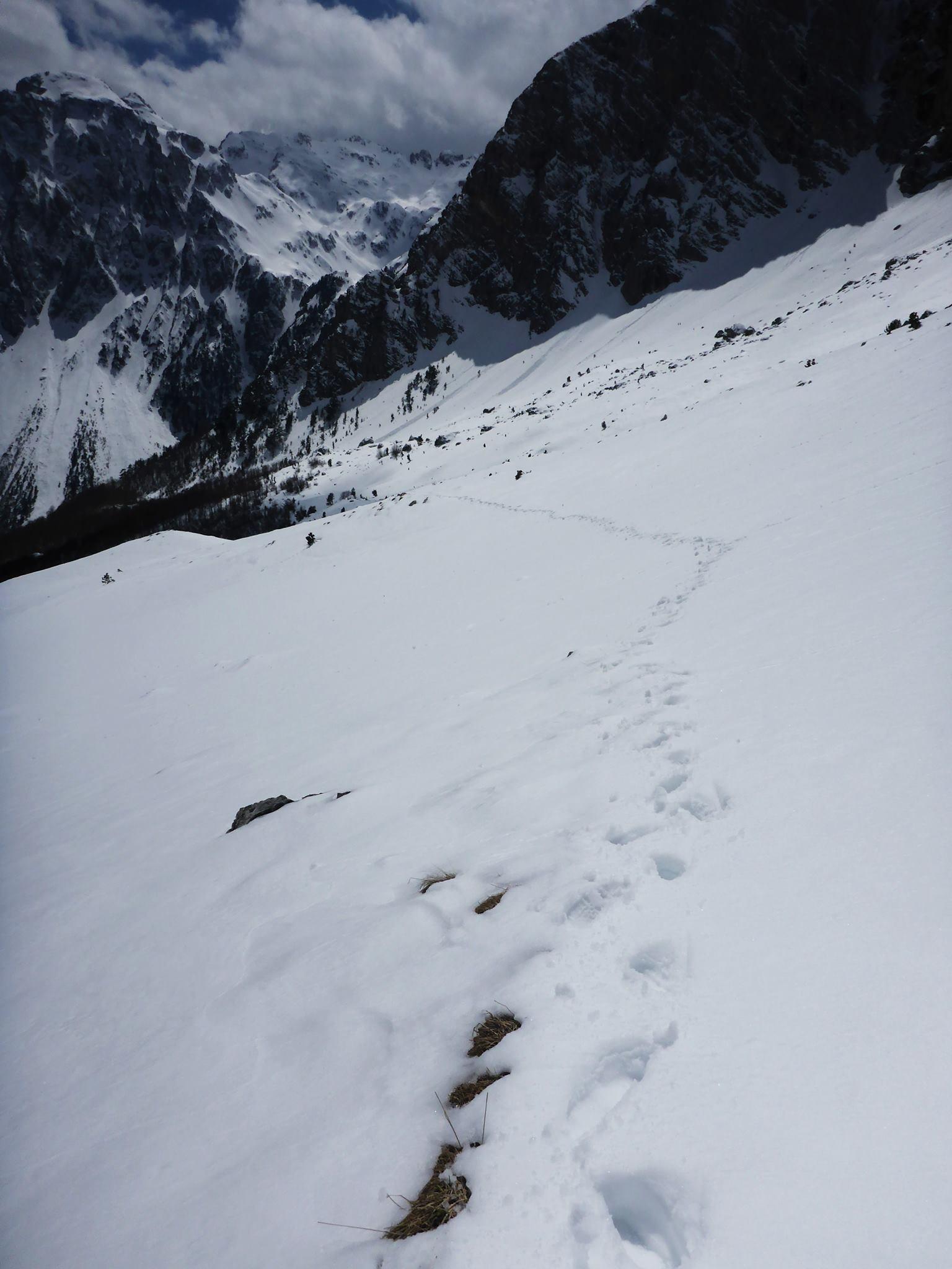 La neige est de plus en plus profonde au fur et à mesure que je grimpe en altitude.