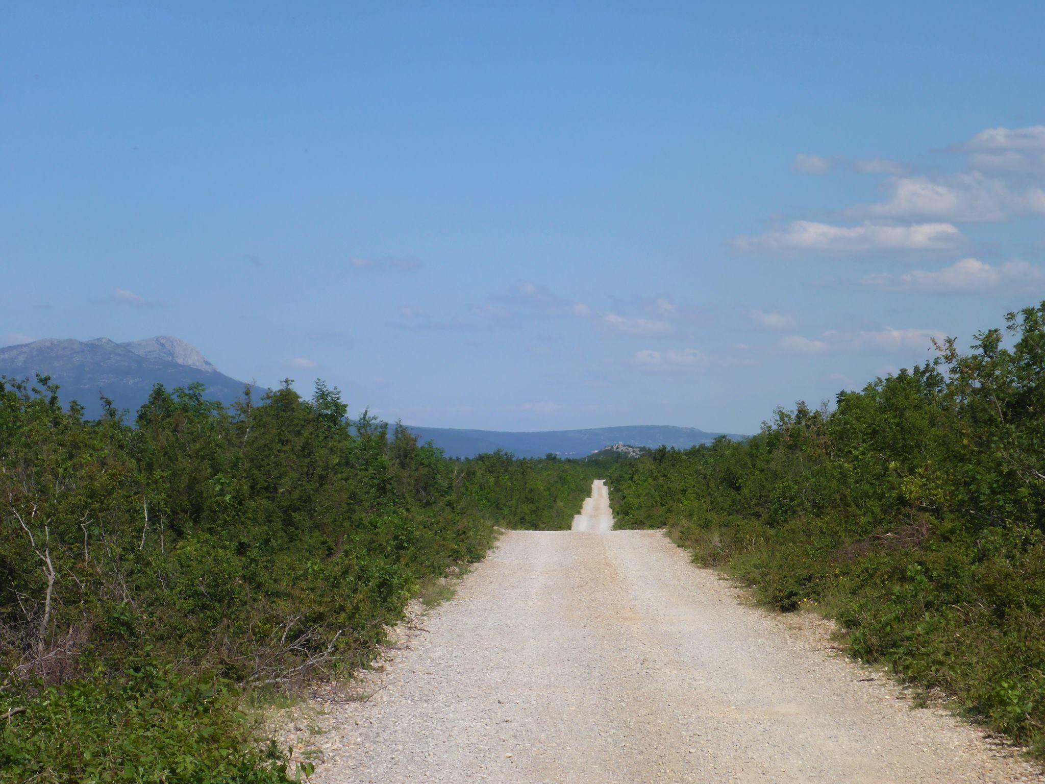 Le premier jour en Croatie se passe dans ce genre d'immenses plaines faites de piste de sable et d'arbustes secs
